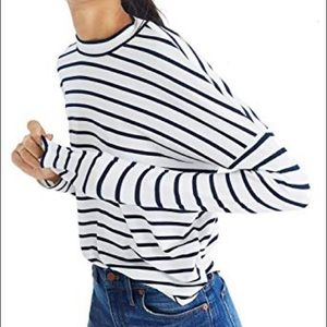 Madewell Long sleeve mock neck top in stripe